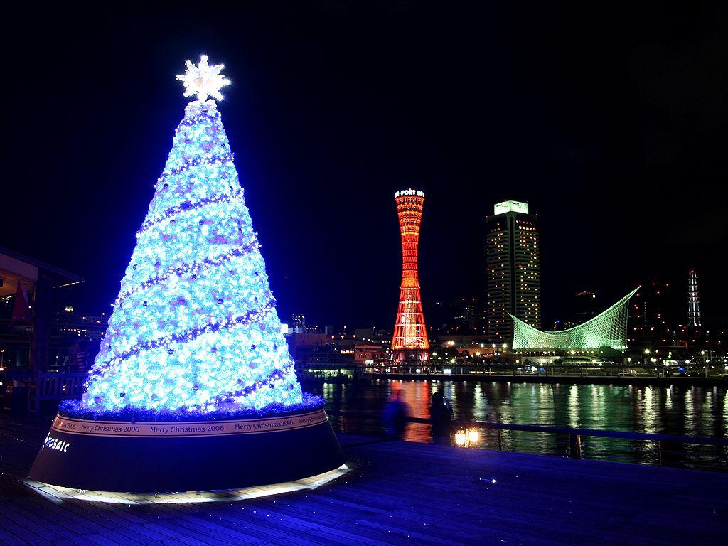 神戸ハーバーランド・モザイクのクリスマスツリーと神戸の夜景/神戸ハーバーランドのクリスマス/壁紙写真無料写真素材