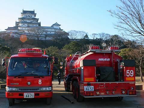 姫路市消防局出初式 消防自動車と姫路城