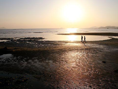 夕日・新舞子浜の干潟/たつの市御津町