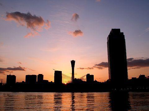 メリケンパークに沈む夕日/神戸市