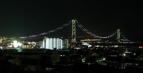 阪神タイガース優勝記念特別ライトアップ・明石海峡大橋