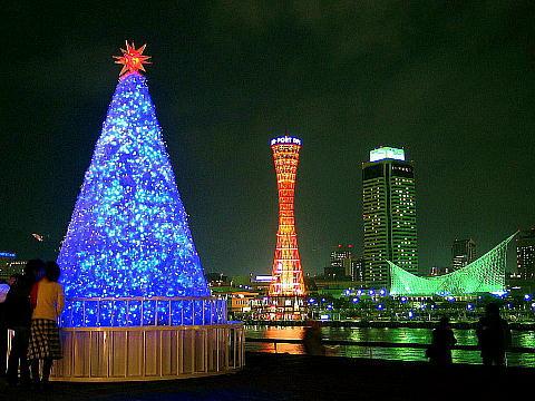 神戸ハーバーランド・モザイクのブルーツリーとメリケンパークの夜景
