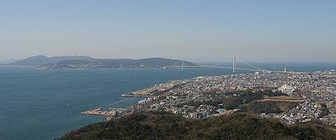 須磨山上遊園展望閣から見た神戸市西部~淡路島・明石大橋の風景