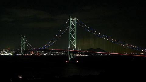 阪神タイガース優勝記念特別ライトアップ・明石大橋