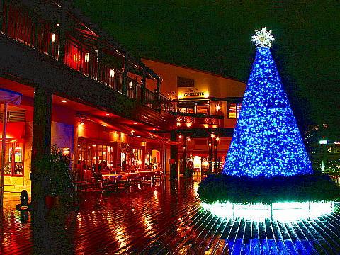 神戸ハーバーランド・モザイクのツリーと海の広場の夜景