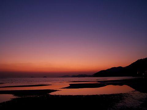 夕焼け空・新舞子浜の干潟/たつの市御津町