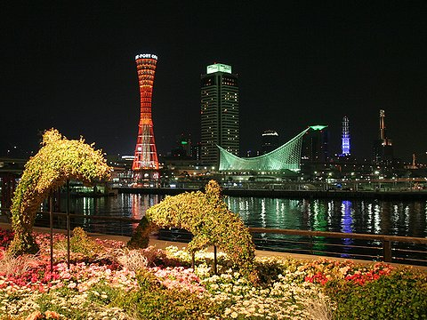 神戸ハーバーランドモザイクとメリケンパークの夜景