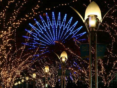 神戸ガス灯通りのクリスマスイルミネーションの無料壁紙・写真素材