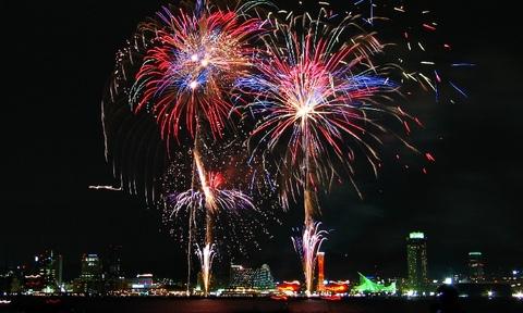 神戸花火大会と神戸港と神戸メリケンパークライトアップ夜景★