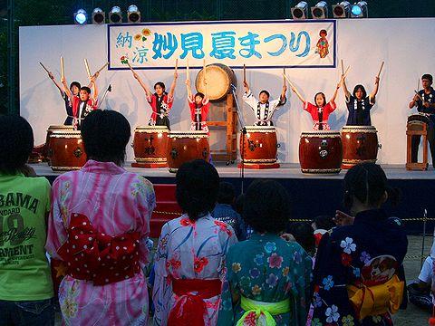 和太鼓の演奏「千種太鼓」/妙見山夏まつり