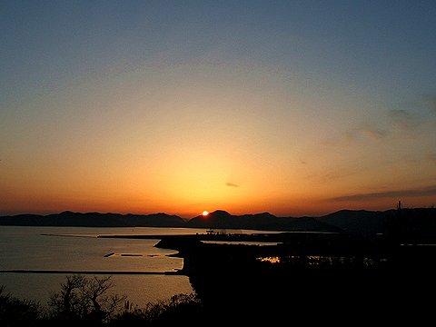 赤穂御崎・赤穂御崎灯台から見た夕日