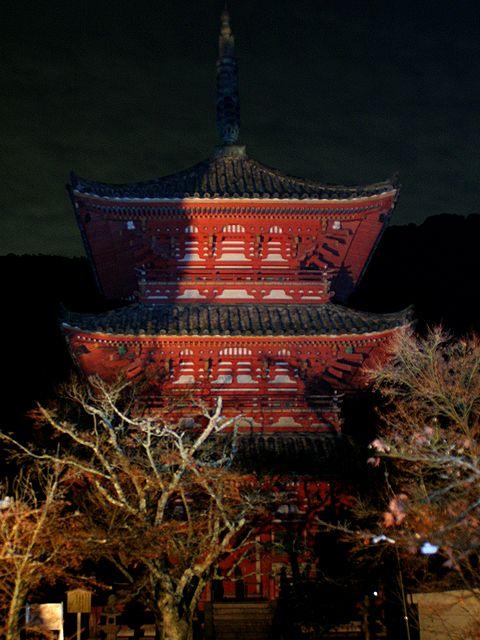 太山寺三重塔のライトアップ/神戸市