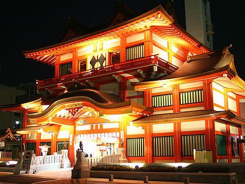 初詣・播磨国総社 総社御門のライトアップ・夜景/姫路市