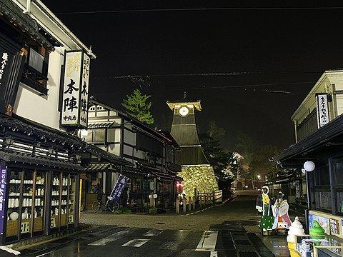 辰鼓楼のライトアップ/但馬の小京都・出石の夜景