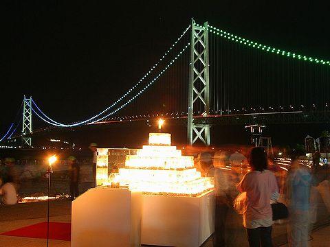 こうべパールキャンドル2006/アジュール舞子海水浴場と明石海峡大橋
