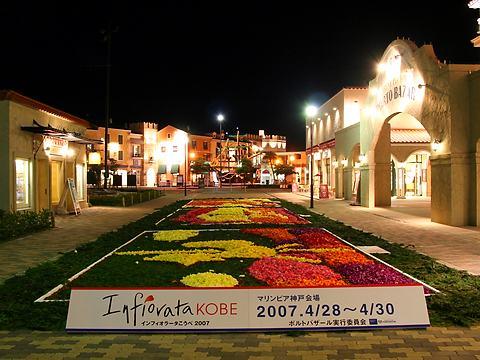 マリンピア神戸のチューリップの花絵・インフィオラータこうべライトアップ・夜景