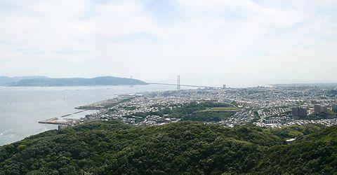 神戸市垂水区~明石海峡大橋~淡路島の風景・鉢伏山須磨山上遊園/神戸市須磨区