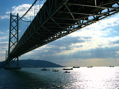 明石海峡大橋と淡路島/神戸市垂水区舞子公園