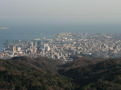 神戸市街地・和田岬・神戸港の風景/神戸六甲山・鍋蓋山山頂展望台