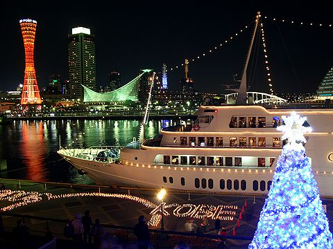 クルーズ船コンチェルトとモザイクロマンチッククリスマス/神戸ハーバーランド・神戸港,神戸メリケンパークの夜景