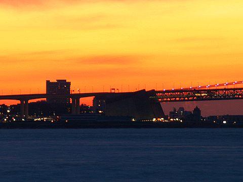 明石海峡大橋舞子アンカーレイジ・舞子公園アジュール舞子の朝焼け/2007年元旦の夜明け・初日の出