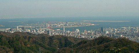 神戸市街地と大阪湾の風景/神戸六甲山・菊水山