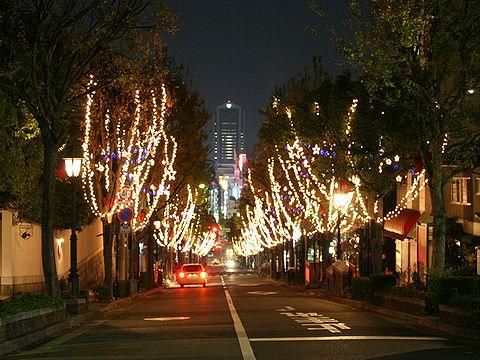 神戸北野クリスマスストリート・北野坂のイルミネーション・異人館街の夜景/神戸市