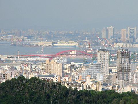 ポートアイランド・神戸大橋と神戸港の風景/神戸市須磨区・おらが山(高倉山)