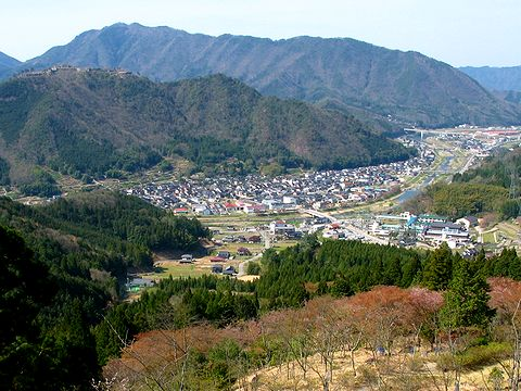 立雲峡から見た竹田の町並みと竹田城