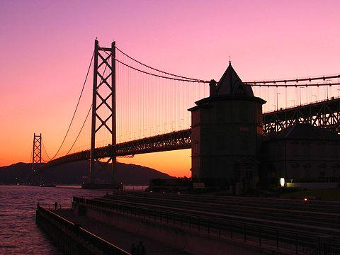 明石海峡大橋の夕景