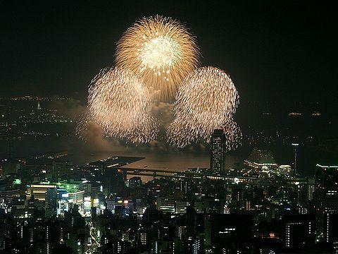 神戸花火大会と神戸メリケンパーク・神戸港の夜景/市章山・錨山(六甲山)
