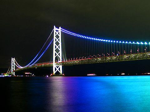 明石海峡大橋のライトアップと夜景