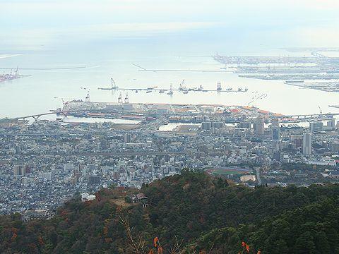 摩耶山掬星台展望台から見た神戸の風景/神戸市六甲山