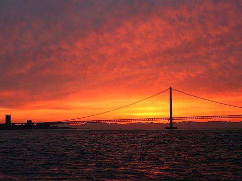 2007年(平成19年)初日の出/神戸市・明石海峡大橋