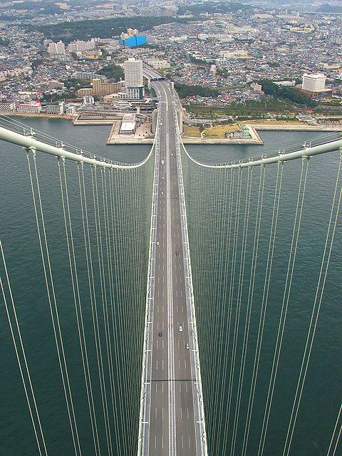 明石海峡大橋主塔頂上からの風景