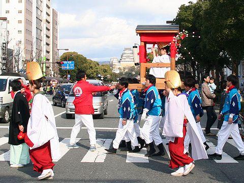 姫路城と宝恵駕籠行列・姫路播磨国総社/姫路市