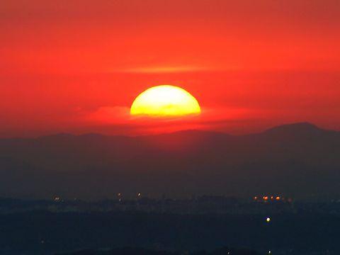 夕日と夕焼け空/神戸市須磨区 須磨山上遊園・須磨浦公園