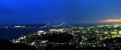 神戸市垂水区~明石海峡大橋ライトアップ~淡路島の夜景/神戸市須磨区・鉢伏山須磨浦山上遊園から見る神戸の夜景