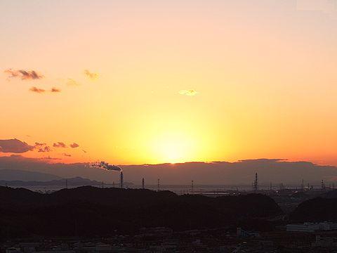 高御位山から見る瀬戸内海に沈む夕日/高砂市