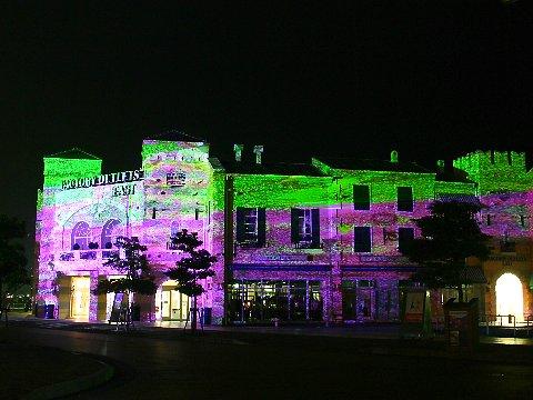 デジタル掛け軸・マリンピア神戸ポルトバザールライトアップ夜景/神戸市垂水区