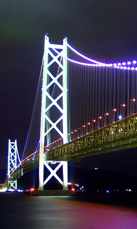 Softbank_912sh_aquos_明石海峡大橋夜景・WVGA(480×800)壁紙・携帯待ち受け画像