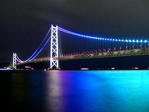 明石海峡大橋ライトアップ写真・明石海峡大橋の夜景写真