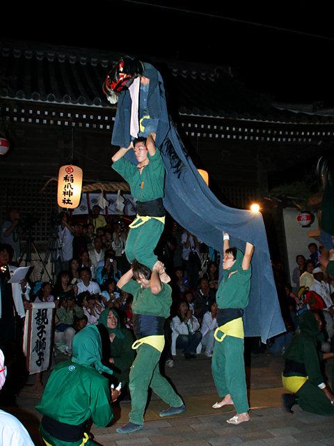 三人継ぎ獅子舞・稲爪神社の秋まつり獅子舞/播州の秋まつり-明石市