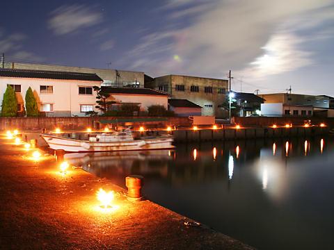 港の月明かり夜景・たかさご万灯祭のキャンドルライトアップ/高砂市