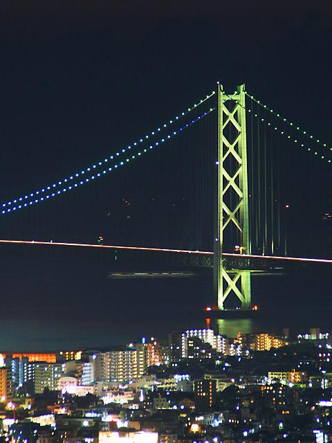 明石海峡大橋のライトアップ夜景/神戸市・須磨浦山上遊園