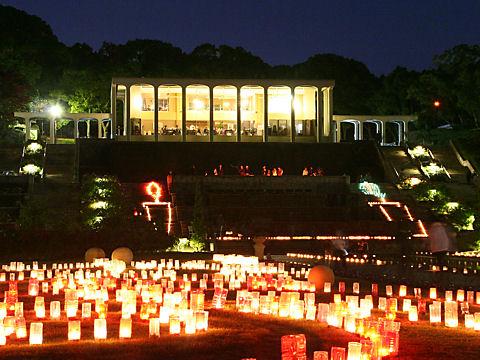 キャンドルナイトと須磨離宮公園のライトアップ夜景