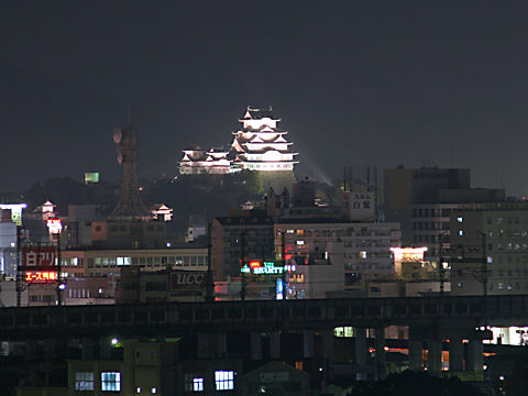 手柄山公園から見た姫路城のライトアップ夜景
