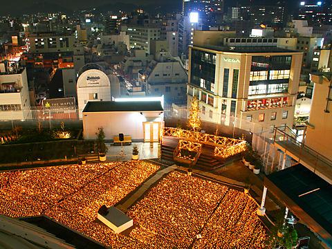 大丸神戸店屋上庭園のクリスマスイルミネーション夜景