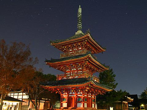 鶴林寺三重塔のライトアップ夜景