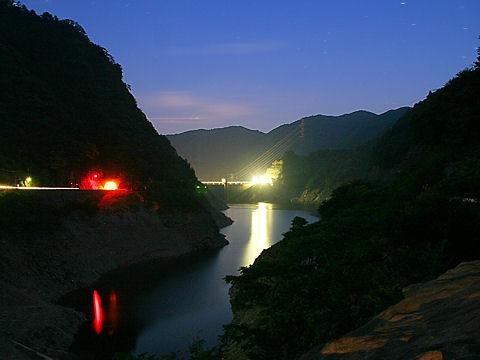長谷ダム・大河内発電所の夜景/神河町